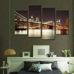 Wholesale bridge piece - Amosi Art-4 Pieces Manhattan Bridge At Night Modern Landscape Prints Canvas Painting in the Home Decoration Wall Decor with Wooden Framed