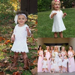 Wholesale Lace Shirt Girl S - 2017 Grace Country Style Full Lace Flower Girls 's Dresses Scoop A Line Knee Length Half Sleeves Kid's Birthday Party Dress