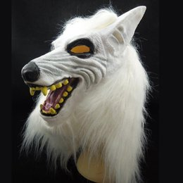 Wholesale Masquerade Wolf Masks - New White Wolf Mask Animal Head Costume Latex Halloween Party Mask Carnival masquerade ball Decoration novelty Christmas gift free shipping