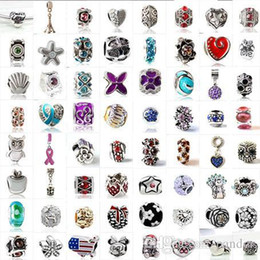 Wholesale Wholesale Animal Charms - Fashion 925 Silver Mix Pandora Style European Big Hole Loose Beads Crystal Rhinestone for Snake safety chain Fit DIY Charm Bracelet Jewelry