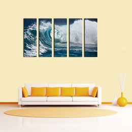 Wholesale Paintings Ocean Waves - 5 Piece Wave Seascape Print on Canvas Roaring Wave Painting Canvas no Framed Ocean Wall Art Paintings Home Decor Art Canvas