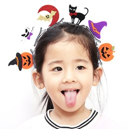 Wholesale Cat Head Costume Adult - 6styles Kids Adults Hair Head Clips Kit Bat Pumpkin Ghost Cat Hat Pins Halloween Decoration Costume Headdress Accessories