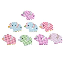 Wholesale Elephant Crafts - Elephant Shape Wooden Decorative Buttons With 2 Holes Buttons 3.1x2.55cm For Sewing Embroidered Crafting DIY Accessory Pack Of 30pcs I483L