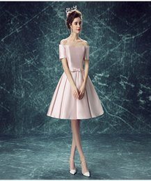Wholesale Lace Up Shirts For Women - Beautiful Short Bridesmaid Gowns Lovely A-Line Satin Evening Dresses Elegant Formal Wear Pink for Women Custom Made Celebrity Dresses
