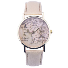 Wholesale White Leather Belt For Sale - Wholesales New Hot Sale Fashion World Map Belt Fashion Quartz Watch Geneva Wristwatch For Women For Christmas