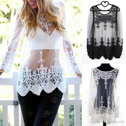 Wholesale See Through Long Blouse - Hot sheer cutout embroidered lace long-sleeve shirt see-through mesh veil cutout lace blouse lace sleeve perspective crochet gauze tops