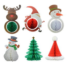 Wholesale Gathers Dress - Christmas decorations loris paper flower pull pull Christmas tree snowflake folding snowman party gathering dress supplies wholesale