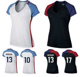 Wholesale Shirt United States Women - Top quality 2016 2017 United States Women Soccer Jerseys White female Soccer Shirt Mogan Dempsey 2016 17 Copa America Away Football Shirts