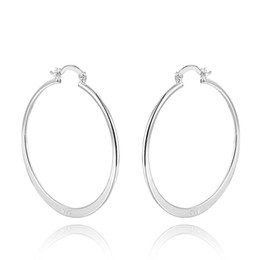 Aros de aro plano online-Venta al por mayor 925 Sterling Silver Large Round Hoop Earrings 70cm dia. plano