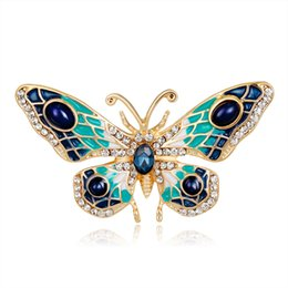 Wholesale Vintage Butterfly Pins Brooches - Vintage Jewelry Large Enamel Esmaltes Butterfly Brooches Corsage Brooch Lot Wedding Broach Violetta Insect Hijab Pin Up Broches