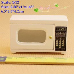 Wholesale Wooden Doll Kitchen - 1:12 Dollhouse Miniatures Microwave White Kitchenware Furniture  doll house Kitchen Cookware Accessories modern Microwave Oven