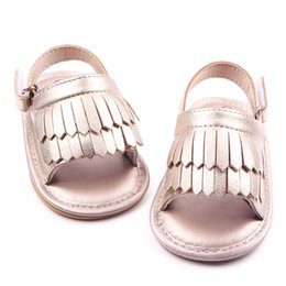 Wholesale Gladiator Fringe Sandals - New Wholesale Hard Sole Baby Tassels Fringe Gladiator Sandals Nubuck PU Leather First Walking Little Girls Wedding Shoes Outdoor Zapatos