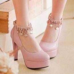 Wholesale New Stylish Platform Shoes - Free Shipping 2016 New Stylish Korean Style Women's Black Platform Pumps Chunky Heel Roman Shoes For Sale Pink Beige Green