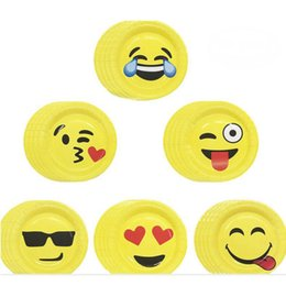 Wholesale Birthday Paper Plates Wholesale - Emoji Paper Plate 7 Inch Expression Disposable Paper Tableware Dining Plates Party Plates Party Supplies 60pcs lot OOA2735