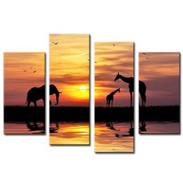 Wholesale Elephant Frame - Amosi Art-4 Pieces Wall Art Silhouette Elephant And Giraffes On Riverside Painting Canvas Print Animal For Home Decoration (Wooden Framed)