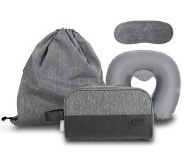 Wholesale Grey Wash Sets - Travel Bag 4pcs Set Multifunctional Air U Pillow Wash Bag Drawstring Bag