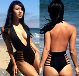 Wholesale Hot One Piece Swimwear - Hot Sale 2016 Sexy Plunge Neck New Sexy Monokini Swimsuit One Piece Swimwear Fashion Bodysuit Backless Black Thong Bottom Bathing Suits