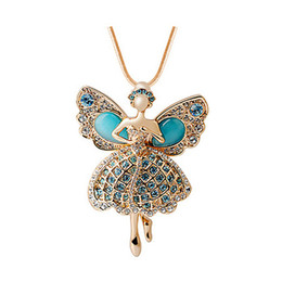 Wholesale Long Dance Sweaters - High Grade Splendor Butterfly Girl Dance Pendant Necklace Crystal Jewelry Blue White Color Korean Fasion Long Sweater Chains