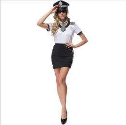 Wholesale Uniform Square - 2017 Policewoman Custume Uniform Temptation Sexy Cosplay Halloween Black And White Squares Women Suit Club Party Stage Performance Clothing