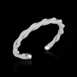 Wholesale Sterling Silver Twisted Wire Bracelet - Fashion 925 sterling silver Bangle Twisted wire mesh Bracelets 925 Silver Charm women Bangles Jewelry Cheap price