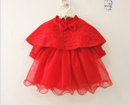 Wholesale First Suits - Baby girls Sets Infants Beaded Bows Lace Shawl+Tulle TuTu Dress+Pants+Hat 4pcs Suits Newborn First Christening Birthday Party Clothes G1214