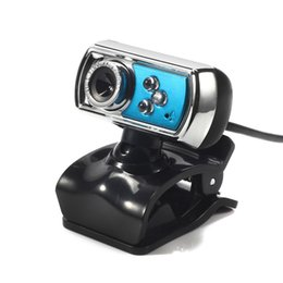 Wholesale Digital Usb Pc Mic - High Quality HD 12.0 MP 3 LED USB Webcam Camera with Mic & Night Vision for PC Blue Free Shipping