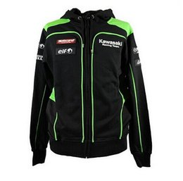 Wholesale Motorcycle Uv Jacket - Factory Wholesale Motorcycle Team Green Casual Hoodies For Kawasaki Team Racing Team Cotton Sweatshirt MotoGP Jackets