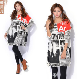 Wholesale Newspaper Sleeves - Autumn And Winter New Female European And American Newspapers Printed Large Size Women Knitted Sweaters