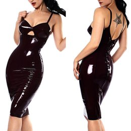 Wholesale Dresses Leather Look - Shiny Sexy Catwomen Party Fancy Dress COSTUME Wet Look Black PVC Clubwear faux Leather Dresses