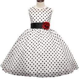 Wholesale Dot Wedding Dress Vintage - Kids Girl Black Polka Dot Summer Dress Baby Girls Princess Events Party Dress Wedding Gown for Children Clothing Girl 3-10 Years DK1038CR