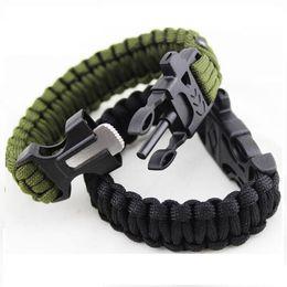 Wholesale Survival Bracelet Whistle Buckles - Outdoor Survival Bracelets Flint Fire Starter Whistle Gear Buckle Camping Ignition Equipment Resure Rope Escape Bracelet Kit DHL Free