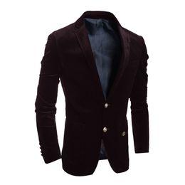 Wholesale Red Corduroy Jacket - 2016 Brand New Blazer Mens Casual Corduroy Suit Men's Slim Fit Single-breasted Blazer Jackets Outwear Coats Black Wine Red
