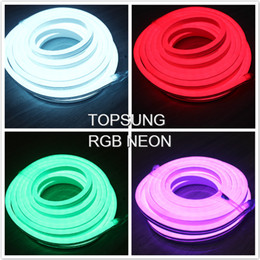 Wholesale Commercial Outdoor Sign - 10m RGB led neon light flex strip 220V 110V ultra thin 5050 smd neon tube lights for commercial custom outdoor led sign+controller
