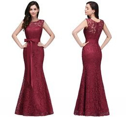 Wholesale Cheap Formal Wear For Women - 2018 New Vintage Full Lace Mermaid Evening Dresses Cheap Sheer Jewel Neck Sheath Formal Evening Gowns For Women Under $70 Cps720
