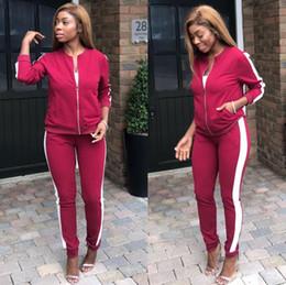 Canada Womens Tracksuits Fashion Paneled rayé veste tops pantalons ensemble Casual deux pièces Ensembles de sport pour femme sportwear Red Army Green S-XL Offre