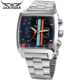 Wholesale Mechanical Watches Skeleton Square - High Quality Full Stainless Steel Jaragar Wristwatches Free Drop Shipping Automatic Mechanical Skeleton Watch Men's Square Dial Sport Watch