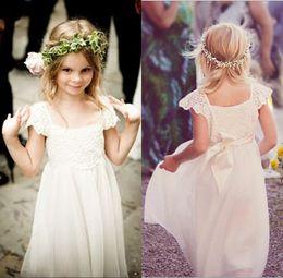 Wholesale Shirt Chiffon Flowers - Boho Sleeves Floor Length Flower Girl Dresses for Weddings 2017 White Ivory Lace Chiffon Girls Kids Formal Dresses with Sash First Communion
