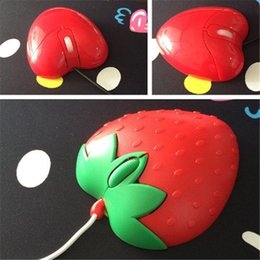 Wholesale Usb Novelty Computer Mouse - Novelty Strawberry shape computer mouse USB Optical Mouse Sweet Heart Shape wired USB computer mice PC mouse mice zpg042