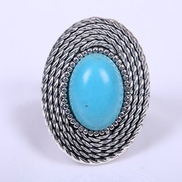 Wholesale Tibetan Green Ring - Euro-American New Silver plated ring Retro Style Tibetan Rings Memorial Day gift for women Inlayed Round Green Turquoise Ring