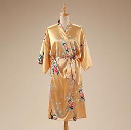 Wholesale Sexy Yukata - Wholesale-Hot Sale Gold Women's Plus Size Satin Nightgown Bridesmaid Bride Wedding Robe Lady Traditional Kimono Yukata Gown Flower A-142