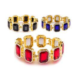 ross oro Sconti Bracciale da uomo ghiacciato nero rosso blu finitura oro rosso rubino rosso hip hop Rick Ross da 8 pollici regalo uomo donna gioielli