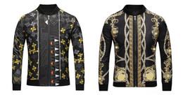 Wholesale Winter Jacket Pattern - ePacket free shipping 2018 autumn winter windbreaker jacket medusa print Casual cardigan men jackets Long Sleeve silk jacket