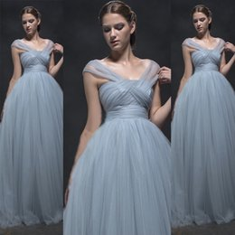 Wholesale Dusky Pink Dresses - 2016 New Arrival Prom Dresses Long Soft Tulle Dusky Blue Unique Neckline Formal Evening Party Gowns Cheap High Quality Custom Made