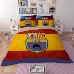 Wholesale Soccer Queen - 3D Bedding Set Soccer Club Pattern Twin Queen King Size Home Textiles Duvet Covers Bed Linen Pillow Cases Wholesale Home textile