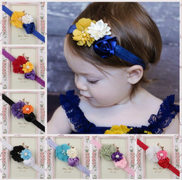 Wholesale Rose Bow Hair Band - Baby Headbands Flower Rhinestone rose headbands kids band bows Headwear Newborn infants Hairbands Children hair accessories 8 Colors KHA134