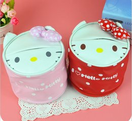 Wholesale Paper News - Wholesale- 2016 news japan style cute tissue box High quality PU can be used in car hello kitty pink tissue canister