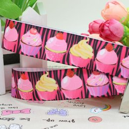 "Wholesale Pink Zebra Print Ribbon - 7 8"" 22mm Popular Pink Zebra Cupcakes Printed Grosgrain Ribbon Bows Crafts Decorations DIY Hair Accessories 50 100Y A2-22-946"