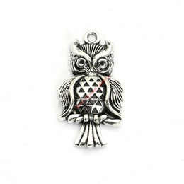 Wholesale gold plated owl bracelet - 12pcs Antique Silver Plated Owl Charms Pendants for Bracelet Jewelry Making DIY Necklace Craft 30x17mm