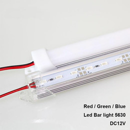 Wholesale Led Rigid Strip Red - 50CM Rigid Strip SMD5630 LED Bar Light Blue Green Red Waterproof U Groove 36leds DC12V LED Tube Hard led light bar