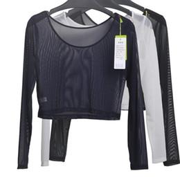 Wholesale Semi Slim - Wholesale- Women Sexy Slim Semi-transparent Mesh Crop Tops Girl Long Sleeve Short T-Shirts Tees Single Layer Mesh